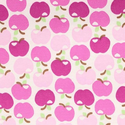 "Polyester Stoff ""Apfel"" - pink"